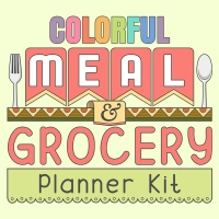 Colorful Meal & Grocery Planner
